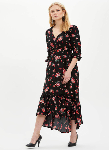DeFacto Desenli Etek Ucu Fırfırlı Uzun Elbise Kırmızı